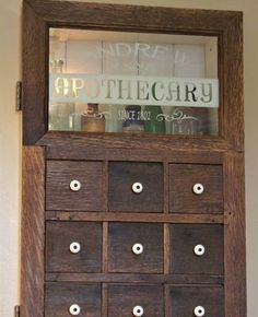 Homemade apothecary cabinet to replace mid-century medicine cabinet in bathroom wall