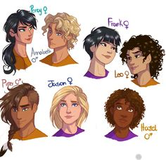Seven of the Prophecy - Rule63 by juliajm15 on deviantART. Gender bent Olympians. Love Piper's hair!