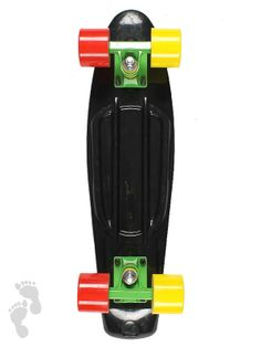 Rasta Special Edition Retro Skateboard Cruiser 22 inch | Black Skateboard | twobarefeet.co.uk