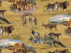 Safari African Animals Fabric / Giraffe Fabric, zebra, lion, leopard, caribou By the yard / Elizabeth Studios 5015 / Yardage & Fat Quarters by SewWhatQuiltShop on Etsy