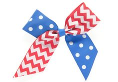 Royal Blue & Red Small Criss Cross Cheer Bow