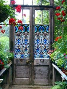 Add a hint of charm to your garden or greenhouse doors by creating your own faux stained glass. garden decor. greenhouse. garden ideas. greenhouse design. @venci90