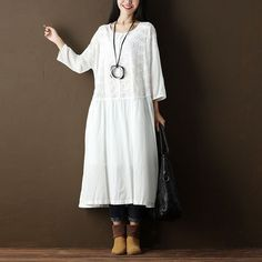 Women Pleated Floral Loose Shoulder Sleeve White Dress