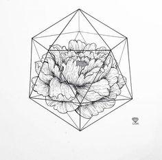 Пион внутри геометрической фигуры