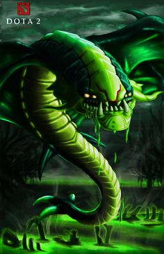 Fan art of my favourite Dota 2 playable hero, Viper the venomous nether drake. I think serpents in fantasy, mythology and real life are cool. If I was to ever make a fantasy graphic novel, I would definitely make one of the villains a giant snake. Dota Game, Defense Of The Ancients, Dota 2 Wallpaper, Beast Creature, Games Images, World Of Darkness, Fantasy Monster, Gaming Wallpapers, Cartoon Design