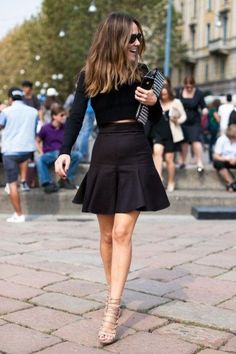 Black crop top and cute pleated skirt