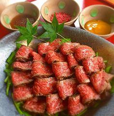 ローストビーフ風タタキ🐮 梅七味ポン酢💜柚子味噌で