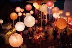 chinese lanterns, wedding decoration, chinese lanterns with streamers