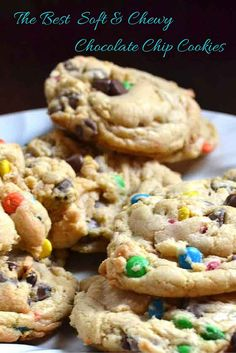 One of the best cookie recipes out there- I promise! The key to these cookies is to REFRIGERATE the dough for at least 1 hour.   This is the best recipe for soft and chewy chocolate chip cookies with M&Ms. You can easily make this recipe with just chocolate chips too but they are just like the chewy cookies you get in the bakery.   These
