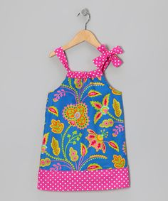 Take a look at this Hippo Hula Ocean Floral Damask Hailey Swing Dress - Infant, Toddler & Girls on zulily today!