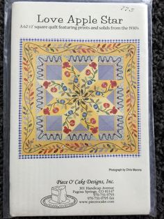 Love Apple Star Square Quilt Pattern 62 1/2 UC FF by Vntgfindz