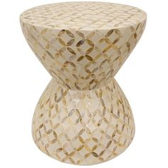 White Mosaic Accent Table (560 SAR) ❤ liked on Polyvore featuring home, furniture, tables, accent tables, white wood furniture, mosaic furniture, mosaic accent table, white wood table and mosaic table