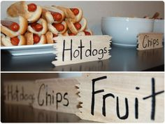 Camp Theme Food Ideas - really great: canteens for drinks for all kids, hotdogs, bandanas wrapped up for goody bags etc