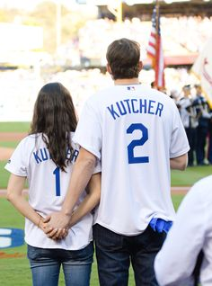 Ashton Kutcher and Mila Kunis Announce the Lineup at a Dodgers Game, Knock It Out of the Park