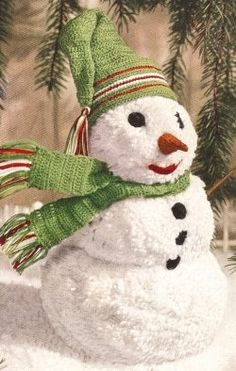Welcome the holidays with this adorable crafty snowman and his crocheted hat, scarf and features. This will work up so fast you'll want to create...