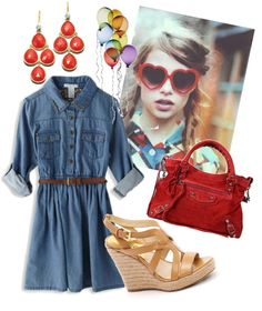 """Summer fun."" by theedeandrab on Polyvore Chambray shirtdress, brown skinny belt, nude wedges, red chandelier earrings, red bag."