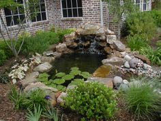 exterior small garden pond with nautral stone material ideas