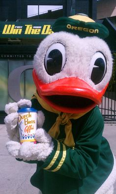 The Oregon Duck promoting Dutch Bros Coffee.
