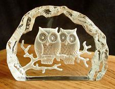 Vintage Nybro Sweden Crystal Scandanavian Art Glass 2 Owls Paperweight Hand Made