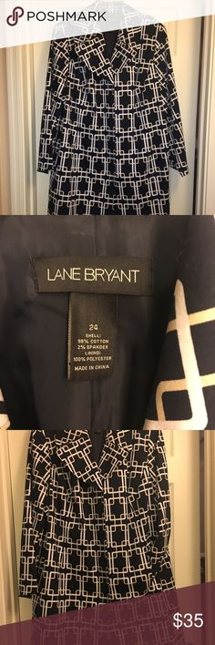 Navy Trench Coat Navy trench coat with white and tan chain link pattern, 4 inside buttons, pockets, and patten leather navy belt, excellent condition. Lane Bryant Jackets & Coats Trench Coats