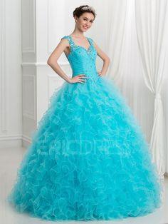 512f39fe35 ericdress.com offers high quality Ericdress Strapless Cascading Ruffles  Ball Gown Quinceanera Dress Quinceanera Dresses unit pri…