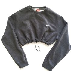 QUEENS | Reworked Nike Crop Sweatshirt Charcoal