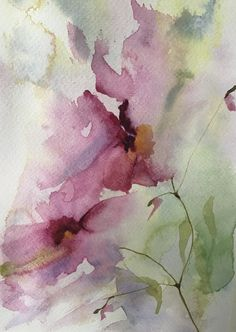 Abstract Flowers, Abstract Watercolor, Watercolor And Ink, Watercolor Flowers, Watercolor Painting Techniques, Watercolor Paintings, Watercolors, Watercolor Pictures, Ink Art