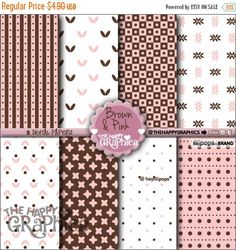80%OFF - BIG SALE Brown and Pink, Digital Paper, Commercial Use, Cute Pattern, Printable Paper, Pink Paper, Rose Paper, Planner Accessories,