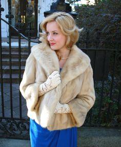 Blonde Mink Fur Jacket / Mink Short Coat / 1950s | Fur jacket ...