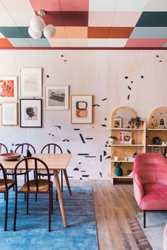 Design*Sponge: In Pasadena, A Funky Art Deco Dream with a colorful ceiling.