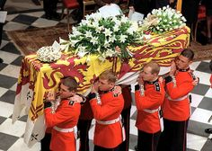 On this day in history, September 6, 1997, funeral services for Diana, The Princess of Wales were held at Westminster Abbey in London. Her casket was driven by hearse, and then carried by horse-drawn gun carriage to the Abbey. Her sons, brother, ex-husband and father-in-law walked in the cortege behind Diana's casket. Pallbearers then escorted her draped coffin to the church altar. A private burial took place after the service, and was attended by Diana's family at the Spencer Althorp…