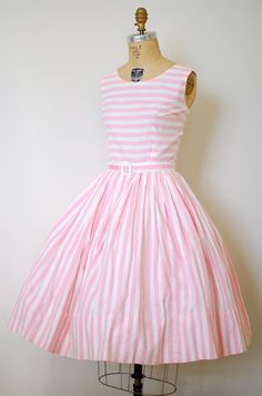 Sweetest 1950's Pink & White Striped Dress