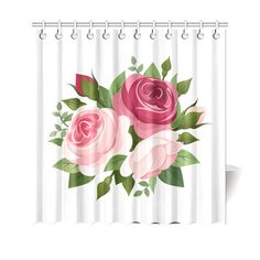 Beautiful Pink and Red Roses Floral Shower Curtain 69