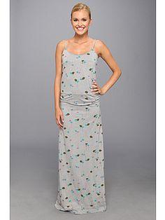 Toad&Co Long Island Dress Gray print maxi tank dress Shelf bra, tencel, cotton, spandex
