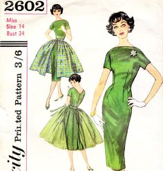 vintage 1950s dress pattern with overlay skirt - this looks exactly like my mother's wedding dress!