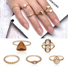 5pcs/Set Vintage Boho Gold Plated Women Punk Opal Knuckle Midi Stacking Rings #Feixingjewelry #Knuckle