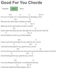 Good For You Chords A$AP Rocky, Selena Gomez