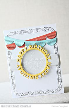 Happy Birthday Circle Frame Die-namics, Fringed Scallop Border Die-namics, Blueprints 31 Die-namics, Handwritten Happiness Stamp Set, Bundles of Blossoms Background - Keisha Campbell #mftstamps