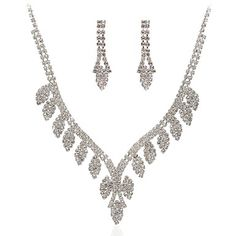 Beautiful+Czech+Rhinestones+With+Alloy+Plated+Wedding+Bridal+Jewelry+Set,Including+Necklace+And+Earrings+–+USD+$+29.99