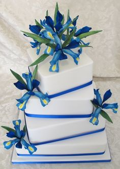 Dutch Iris Sugar Flower square Wedding cake by Tashastasytreats