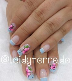 Cute Nails, Pretty Nails, Acrylic Nails, Gel Nails, Manicure, Flower Nails, Gorgeous Nails, Simple Nails, Short Nails