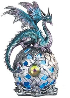 8.25 Inch Dragon on Large Light Up LED Orb Statue Display, Aqua � Friendly Faces