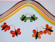 Quilled Butterfly Ear Rings for Girls - By Khushi Purohit