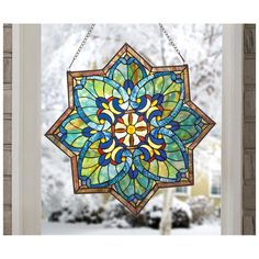 CASTLECREEK™ Star Stained Glass Window Panel, a burst of color, SAVE BIG at SportsmansGuide.com