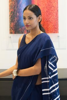 Indigo Blue Denim Saree from FashionMarket.lk