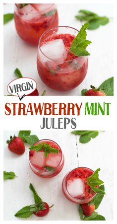 These Virgin Strawberry Mint Juleps are the perfect mocktail. Awesome topped with wine or would be delicious with prosecco in place of gingerale. Virgin Cocktail Recipes, Virgin Cocktails, Fall Cocktails, Summer Drinks, Refreshing Drinks, Fall Drinks, Mint Mojito, Watermelon Mint, Strawberry Mint Water