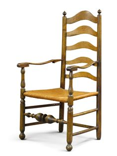 William and Mary Slat Back Maple Armchair, Delaware River Valley, circa 1750 -  Height 44 1/2 in.