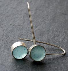 Pale Blue Resin and Silver Polka Spots Earrings