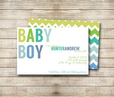 PRINTABLE / DIY Ombre Chevron Birth Announcement by flamingodesigns