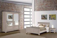 Chambre à coucher WHITNEY en teinte grise. Plusieurs teintes disponibles.